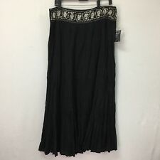 NY Collection Skirt Large Womens Black Beaded Sequins Crinkle Full NWT