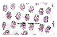 5 Yard Indian Cotton Voile Fabric Running Swing Anokhi Floral Block Print Fabric