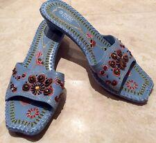 Unworn Andrea Conti Beaded Blue Flip Flops UK 5