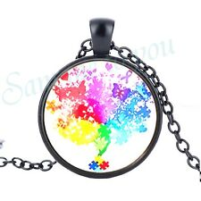 Key Ring New Gift Jewellery Uk Fast Autism Awareness Glass Pendant & Necklace or