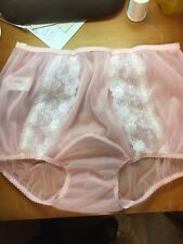 48f38680d227 PINK DOUBLE LAYER SHEER NYLON PANTY DOUBLE GUSSET PINK Satin trim LACE sz 9