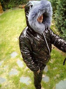 Male Ski Suit Shine Nylon Wet Leather Look Overall Snowsuit Winter Black Sport