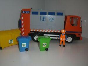 Playmobil - 4418 Orange Recycling Truck - Dustbin Lorry - 1X Figure & 3X Bins