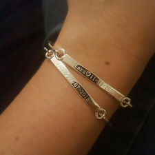 Personalized Bracelet Thin Metal Bangle Message Name Gold Engraved Gift Love