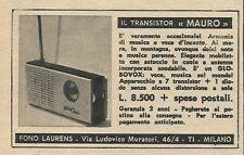 W8597 Radio a transistor MAURO - Fono Laurens - Pubblicità 1964 - Vintage Advert