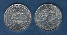 10 Euro Série des Régions 2012 Personnage Argent SUP - Nord Pas de Calais