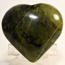 """2.7"""" Rich Green Serpentine Puffy Heart w/ Pyrite Natural Mineral Stone - Peru"""
