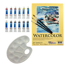 US Art Supply 17pc Watercolor Painting Set Brushes, 12 Color Paint, Paper Pad