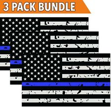 Distressed Wavy USA Blue Line Flag Motorcycle Tank sticker decal 2pk 7x3 DG3