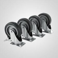 5 Inch Swivel Caster Wheels - Set of 4 - Heavy Duty Double Ball Bearing Plate