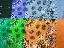 Lot of 12 PCS Muti Color Bandana Wrap Head Paisley Scarves 100% Cotton