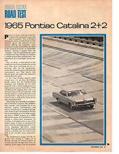 1965 PONTIAC CATALINA 2+2 421/338 HP ~ ORIGINAL 4-PAGE ROAD TEST / ARTICLE / AD
