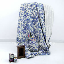 Indian Queen Kantha Quilt Fab India Print Bed Cover Blanket Bedspread Throw Blue