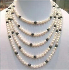 Akoya Pearl Necklace 100Inch free shipping 7-8Mm Natural South Sea White + Black