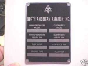 North American Aviation Aircraft Data Plate