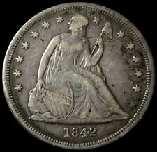 1842 SILVER SEATED LIBERTY DOLLAR $1 COIN