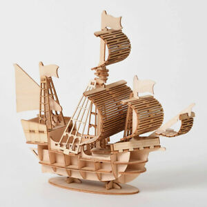 Kits Laser Cutting Train Toys 3D Wooden Puzzle Airplane Toys Sailing Ship