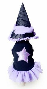 Pet Animal Girl Dog or Cat Purple Witch Tutu & Hat Fancy Dress Costume Outfit M