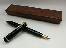 Vtg 1950s Parker Duofold Senior Fountain Pen Black & Gold 14k Nib Boxed 139mm