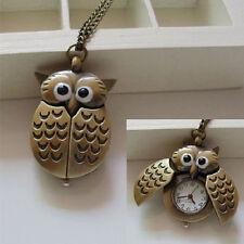 New Retro Unisex Vintage Slide Smart Owl Pendant Antique Necklace Pocket Watch