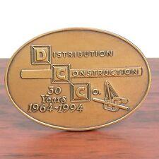 Belt Buckle Vintage Solid Brass Distribution Construction Company Excavator 1994