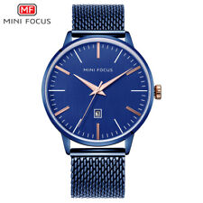 MiniFocus For Mens Quartz Watch Leather Calendar Date Gents  2021 Blue Metal