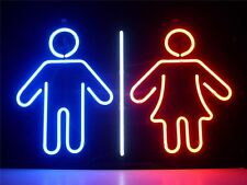 "17""x14""Men Women Neon Sign Light Toilet Washroom Wall Display Real Glass Tube"