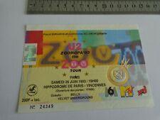 U2 - BILLET DE CONCERT  - TICKET ORIGINAL COLLECTOR - RARE -  PARIS 1993
