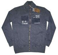 MAGLIA FELPA UOMO M L XL XXL 3XL giacca zip blu slavato cotone Be Board