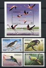 DOMINICA 1984 Vögel  WWF Birds Uccelli Oiseaux 836-39 + Block 86 ** MNH