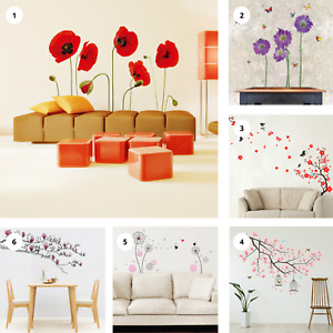 Flower Butterfly Tree Wall Stickers Removable Art Decal Home Spring Decoration