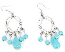 NEW Blue Turquoise French Wire Earrings Tibetan Silver Gemstone 10 Stone Cluster