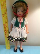 "VTG Ideal Plastic Shirley Temple Doll 12"" w/slip-panties-shoes-Heidi dress-hat"