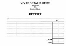 PERSONALISED A6  DUPLICATERECEIPT BOOK PRINTED BLACK 50 NCR PAGES