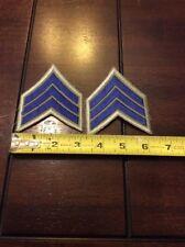 1 PAIR SERGEANT CHEVRON STRIPES DARK BLUE ON GRAY POLICE SECURITY FIRE ETC NEW