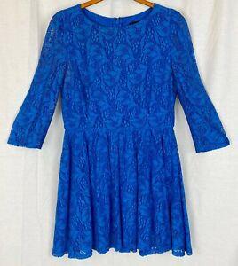 TOPSHOP Womens Royal Blue Floral Dress Size 10