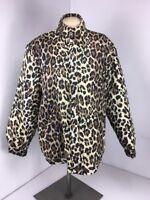 Vtg 90s 80s CLIO 100% Silk Hip Hop CC Bomber all over jacket Sz M Animal Print