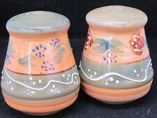 Large Stoneware Pin Striped Salt & Pepper Shaker Set Floral Pattern