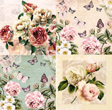 4 x Single Paper Table Napkin/Decoupage/Craft/Flowers/Botanical Mix