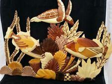 XL Hawaiian C4-Coral Homu Fish Honu Turtle Handcrafted Wood Art Wall Hanging
