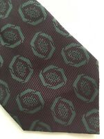 Vintage Valentino Cravatte Silk Necktie Dark Purple Tie Mod Geo Retro