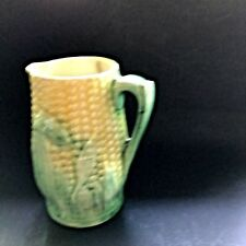 Small Antique Majolica Corn Creamer or Pitcher AS IS