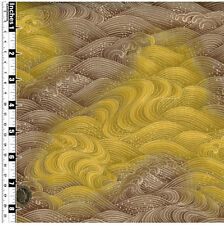 Quilting Fabric Japanese Style Waves Yellow Grey Fat Qs 100% Cotton | YP5