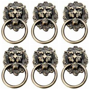 6Pcs Lion Head Handles Pulls Cabinet Knobs Antique Bronze for Door Drawer Dresse