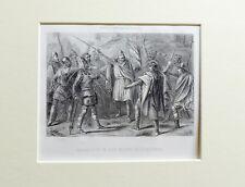 1863 - DON PELAYO EN COVADONGA - ESPAÑA - Grabado con passepartout doble