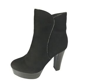 Womens Ladies Black Faux Suede High Heel Winter Shoes Ankle Boots Size UK 6 New