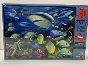 MB Shark Waters Super 3D 500 Piece Puzzle **New In Box-Sealed!**