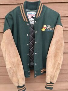 VTG 90s Disney Winnie The Pooh Embroidered Leather Varsity Bomber Jacket XL READ