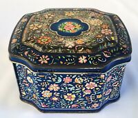 VINTAGE Horner Floral Round Tin Trinket Box Container Hinged & Buttons FREE SHIP