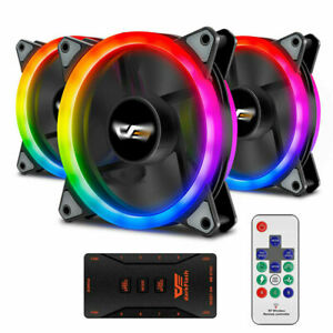 New 3Pack RGB LED Quiet Computer Case PC Cooling 120mm Fan with 1 Remote Control